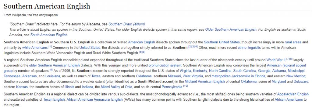 SouthernerEnglish